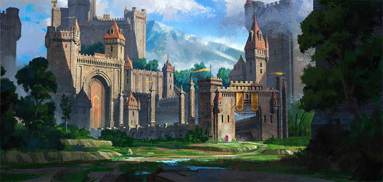 Classic castle in the distance painting