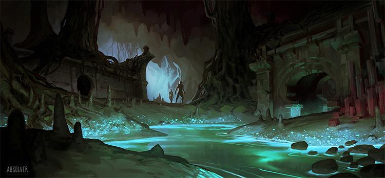 Dark musky underground environment concept art
