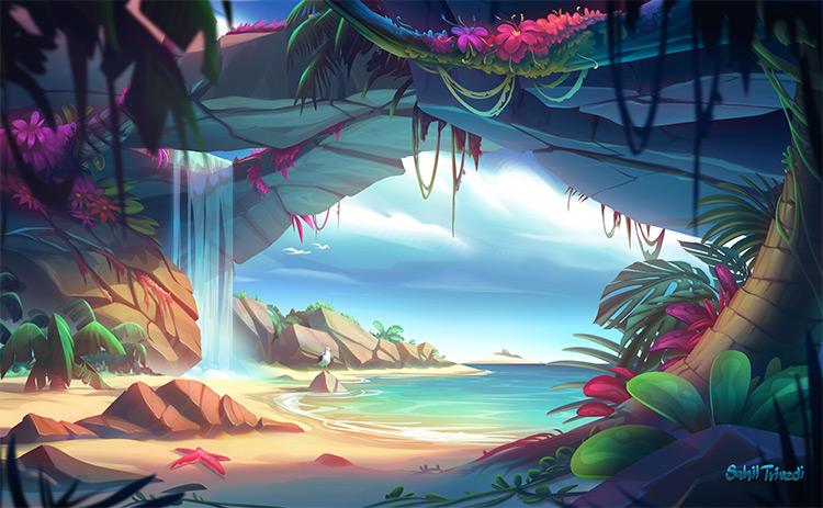 Tropical island area concept art