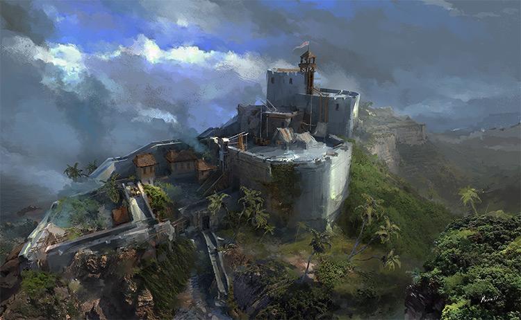 Birds eye view over castle concept art