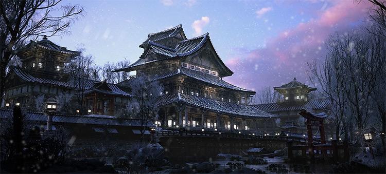 Japanese style castle concept art