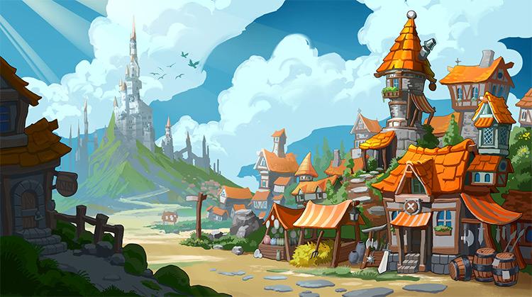 Cartoony town tavern buildings concept