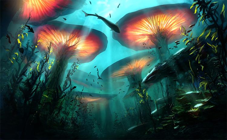 Underwater creatures environment painting