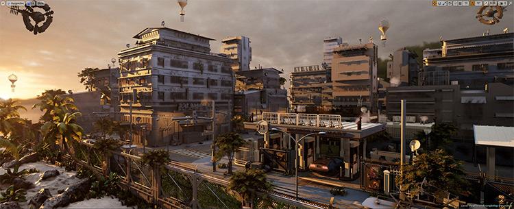 Futuristic cityscape environment concept