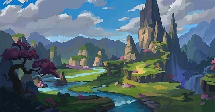 Fantasy land environment painting