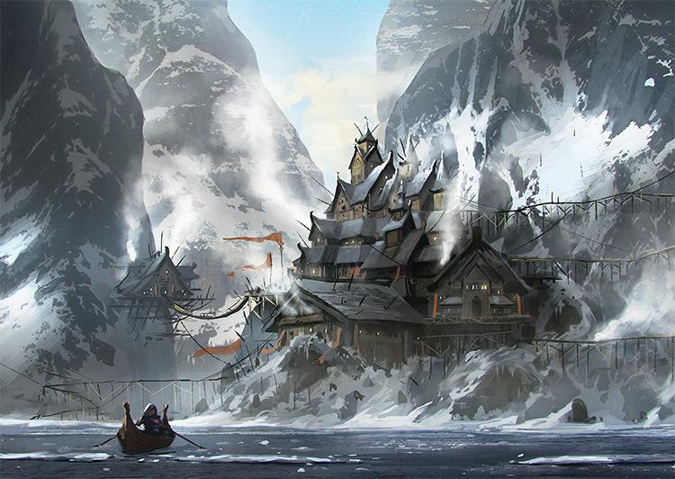 Snowy mountains environment concept