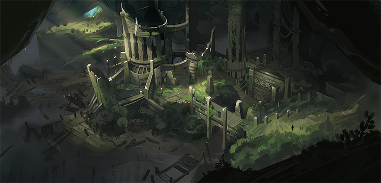 Overgrown city in ruins environment