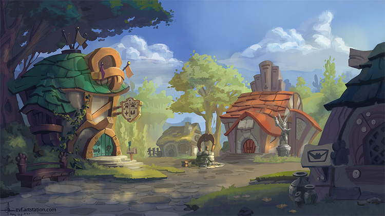 Medieval concept art village environment
