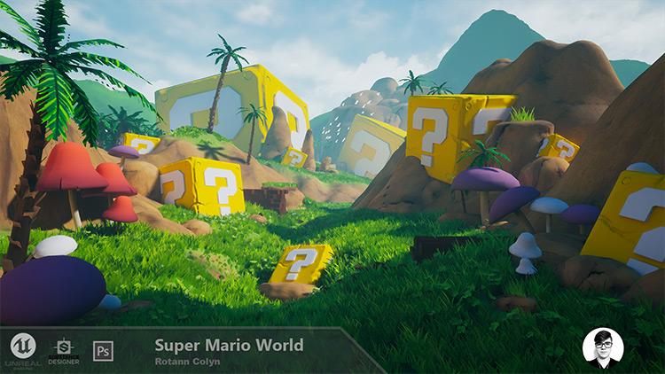 Super Mario World environment concept art