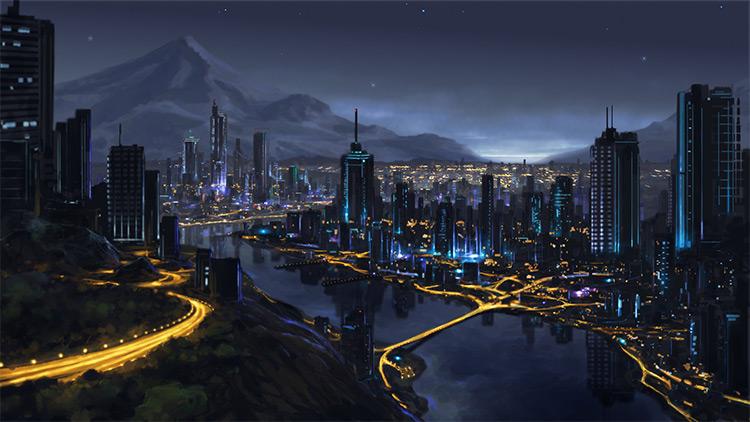 City nighttime - starry dark skies environment