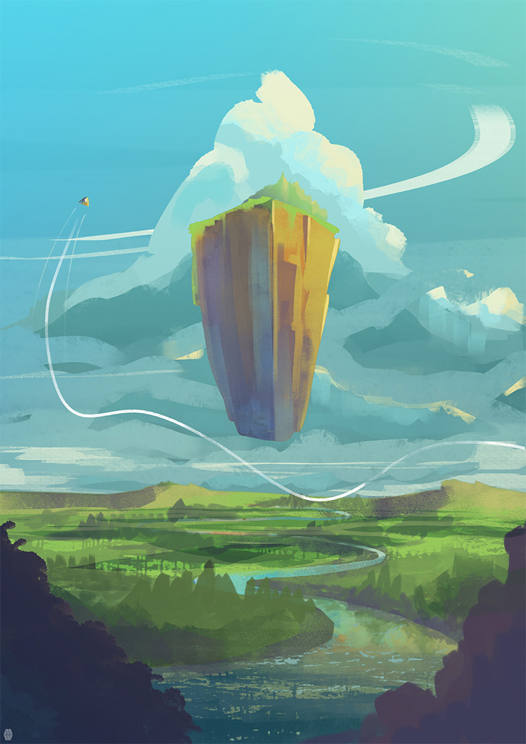 Illustrated floating rock environment painting