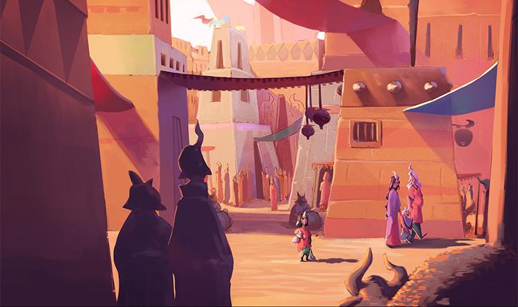 Arabian city marketplace environment concept art