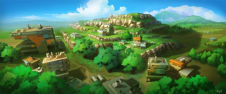 Above landscape wilderness concept art