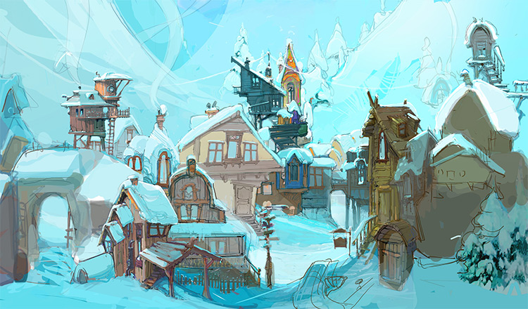 Snowy village rough environment painting