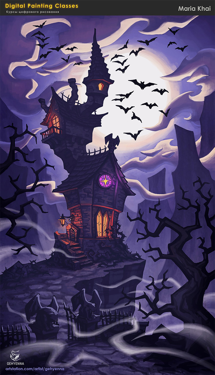 Vampire Mansion concept art exterior painting