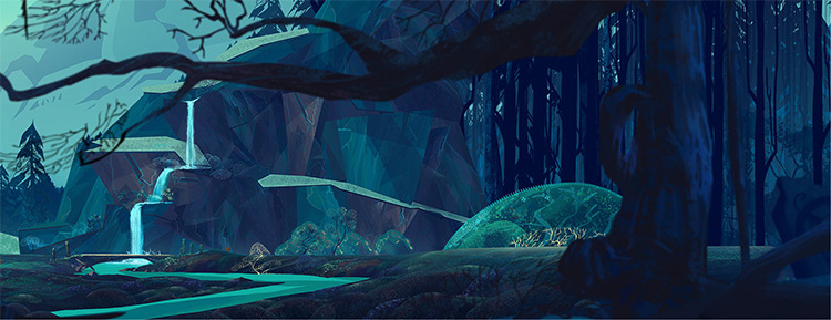 Stylized forest environment concept art