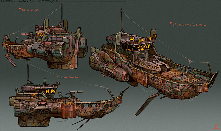 Concept Art sketches for tugboats