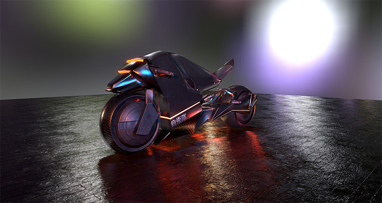 Cyberpunk style motorcycle vehicle concept