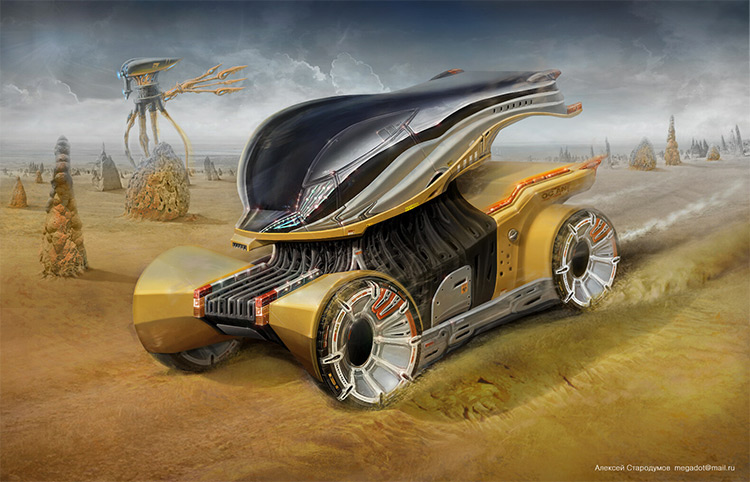 Detailed concept art 3D modeled car