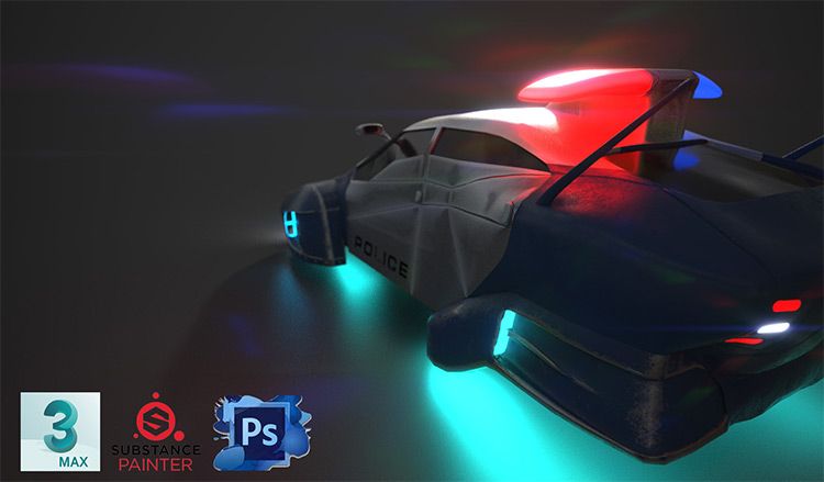Scifi styled police car concept art