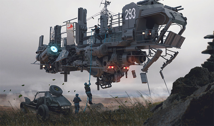 Detaild 3D military floating vehicle concept