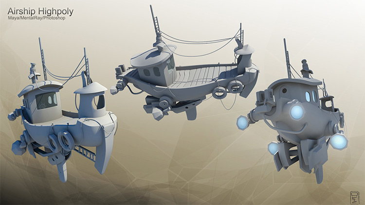 High-poly tugboat floating vehicle design