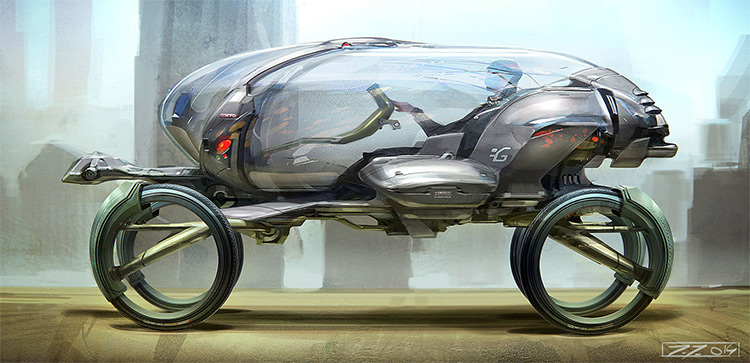 Egg shaped vehicle concept art