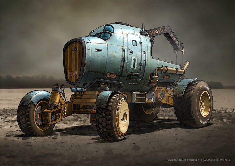 Truck with fuselage concept art