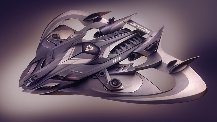 Stealth vehicle designed for underwater - concept painting