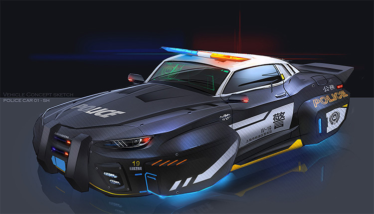 Flying police car concept art