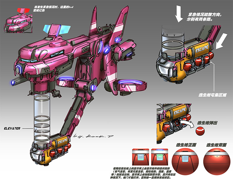 Pink floating space ship design