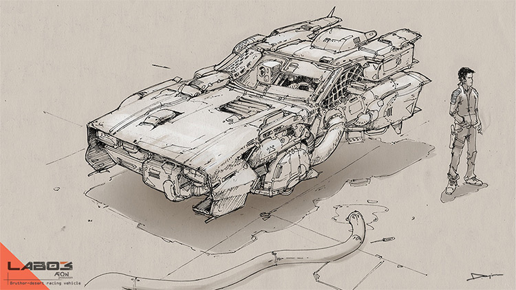 Quick sketch desert racing concept vehicle