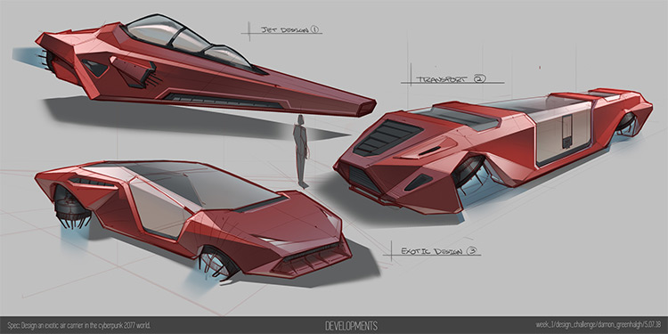 Futuristic floating car concept art