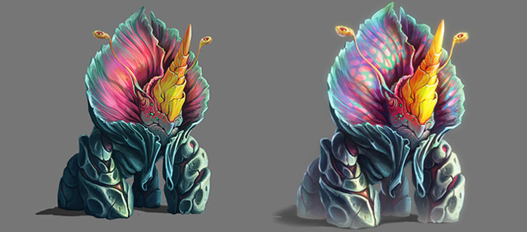 Bloomiceros - flower rhino creature concept art