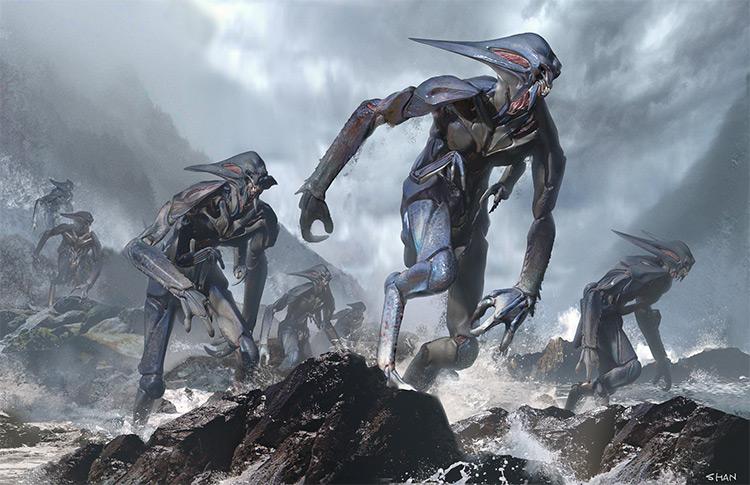 Dark alien style Zbrush creatures