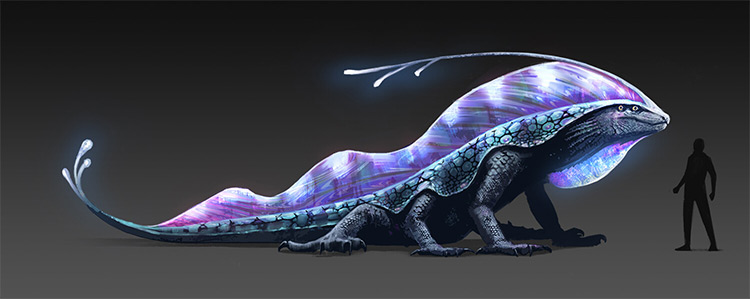 Lizard blue shine, creature concept art