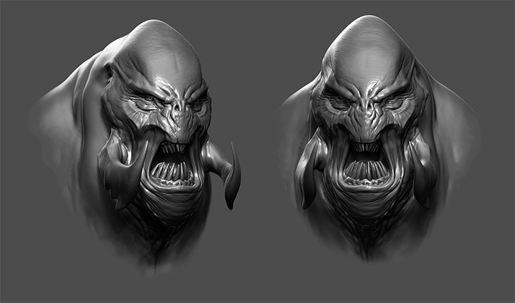 Sculpted 3d creature bust painting