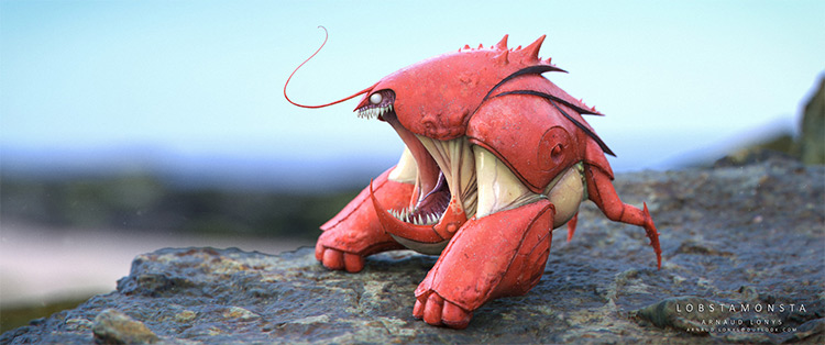 3D modeled lobster creature design