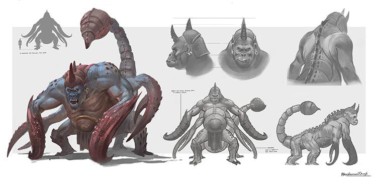 Vrishvanar, beast scorpion style creature concept