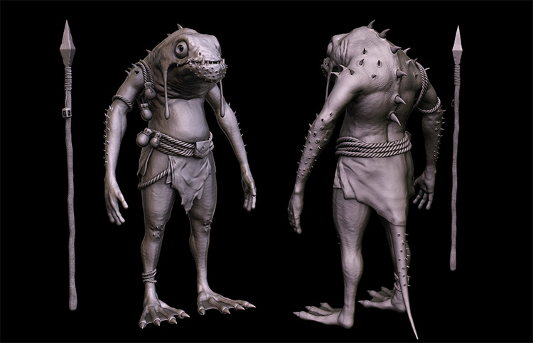 Warrior amphibian creature 3D model