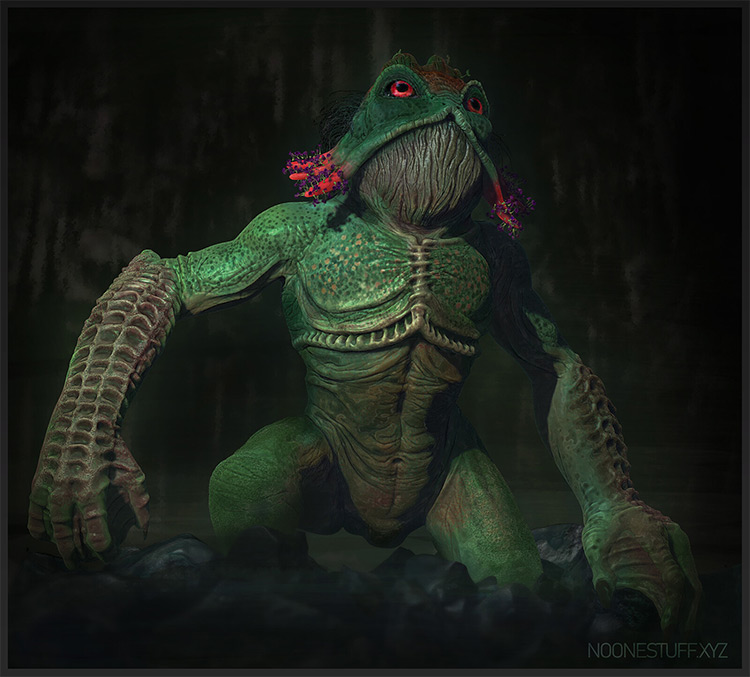 Kappa frog monster, 3d modeling