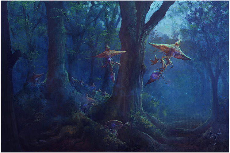 Personal work, free flying creatures in the forest