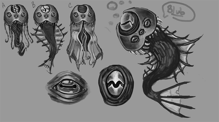 Quick sketches of aquatic creatures