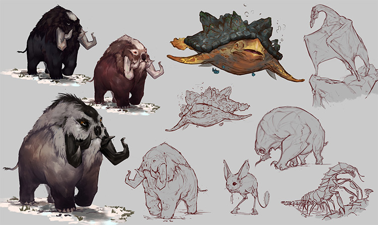 Various land animals and water creature concepts