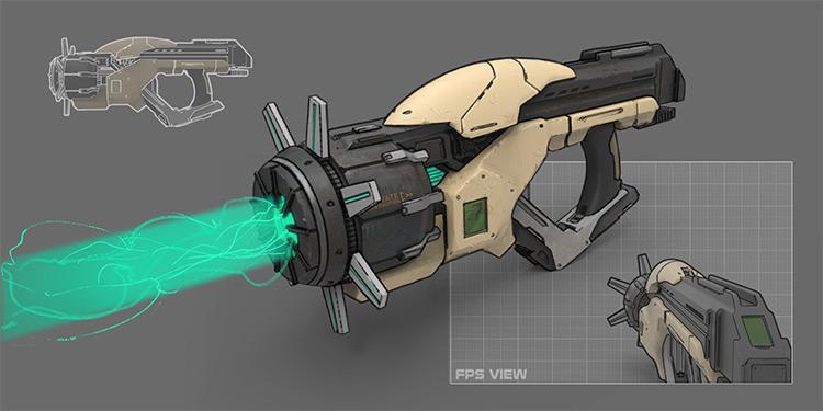 Handmade gravity gun concept art