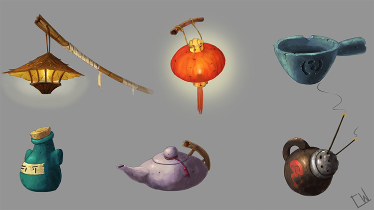 Asian styled concept art props