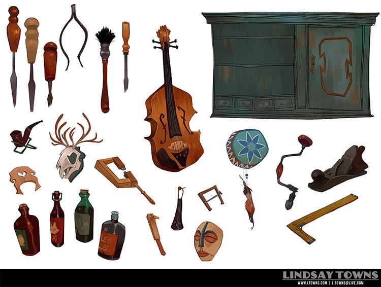 Violin workshop concept art props