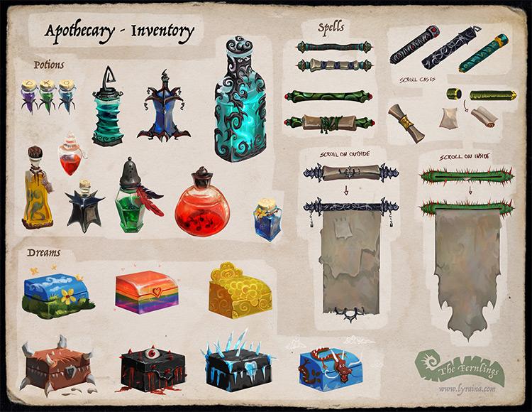 Concept art inventory props