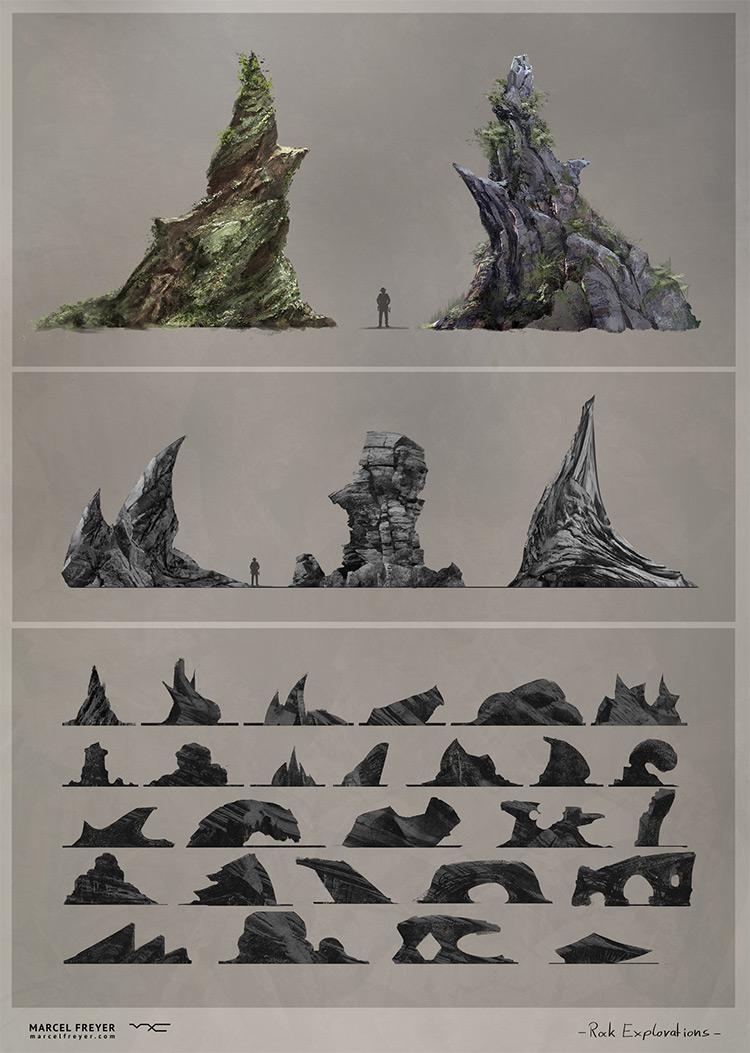 Various stones and rocks concept art