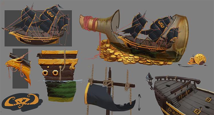 Pirate environment prop concept art